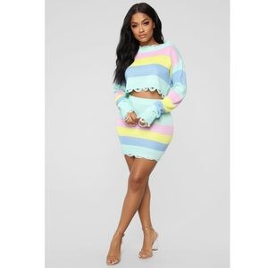 BRAND NEW: Fashion Nova Striped Skirt Set
